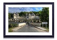 壁掛けインテリア絵画 - フランスの要塞城の森 - 黒い額縁 壁掛け モダン インテリア アート 風景画 装飾 壁飾り 部屋の装飾 ポスターー - 60cmx40cm