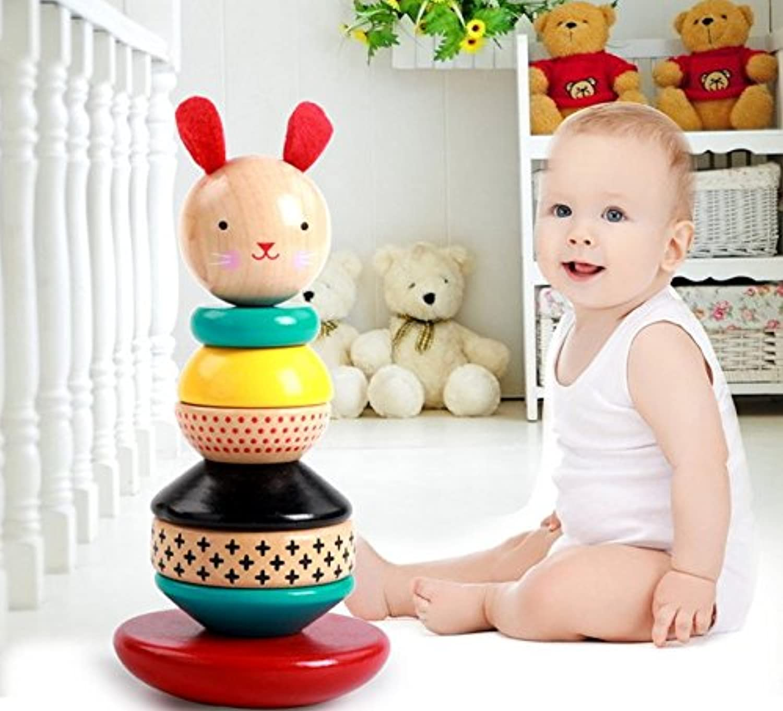 URToys Baby Learning Educational Wooden Toys Rainbow Tower Tumbler Rabbit Geometric Shape Blocks Column Sorting Matching Kids Gifts