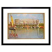 Travel Pola Pula Croatia Arena Roman Stadium Venice Lake Framed Wall Art Print