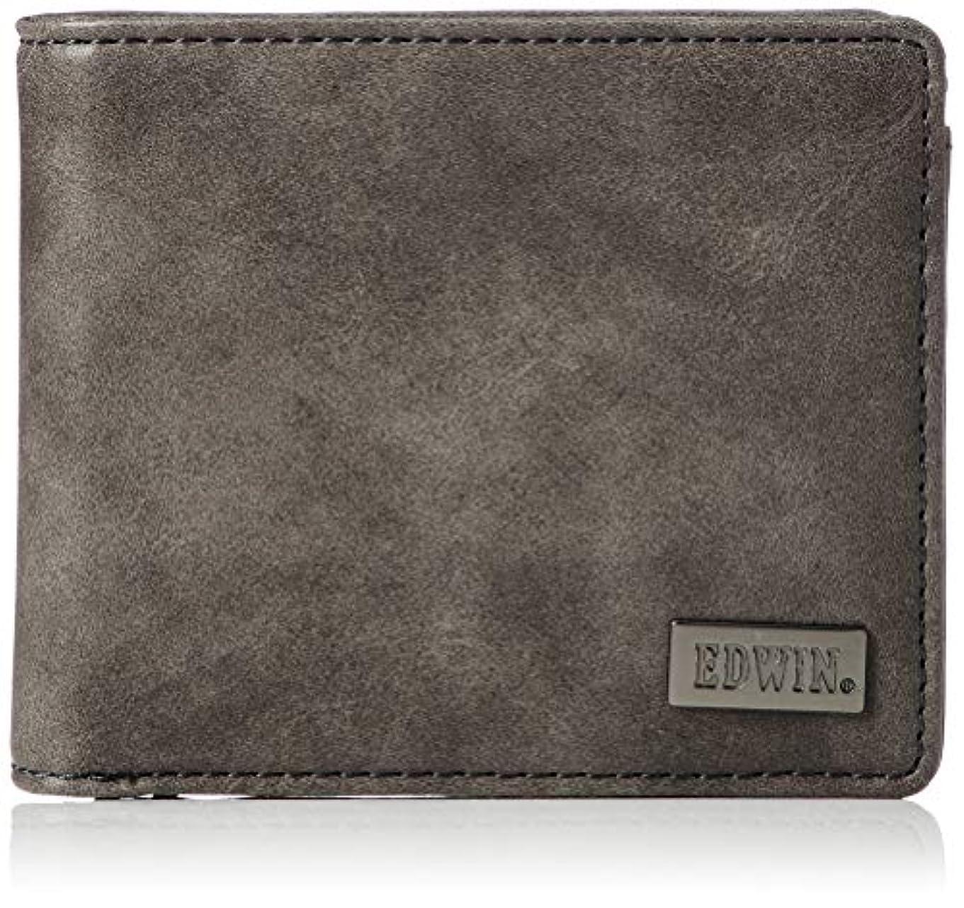 ビジター従来のじゃない[エドウィン]二つ折財布 ダークメタルプレート