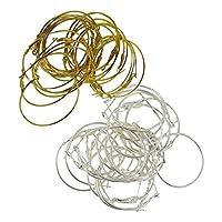 Baoblaze 40個 ピアス フープ リング チャーム フック ネックレス 手作り ゴールド+シルバー