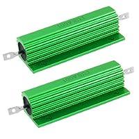 uxcell アルミニウム覆われ ワイヤウーンド抵抗器 ネジタブ 100W 8オーム 2個入り グリーン 5%