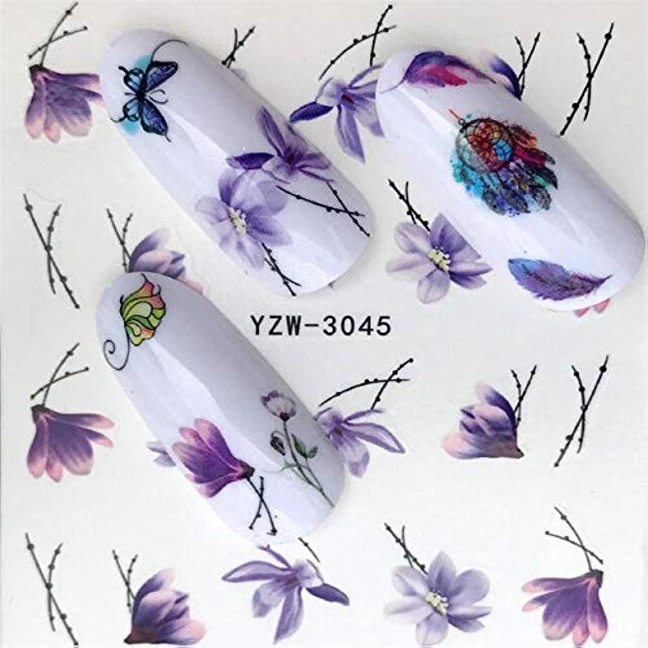 モス信者怖がって死ぬSUKTI&XIAO ネイルステッカー 1ピースホットデザインウォーターパープル美しい花ステッカーネイルアートステッカーネイル箔用diyマニキュア装飾