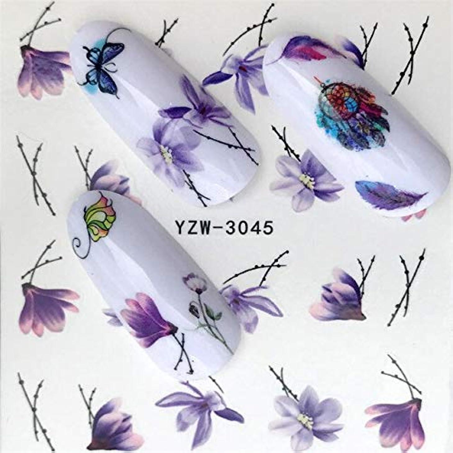 幾分登場クレジットSUKTI&XIAO ネイルステッカー 1ピースホットデザインウォーターパープル美しい花ステッカーネイルアートステッカーネイル箔用diyマニキュア装飾