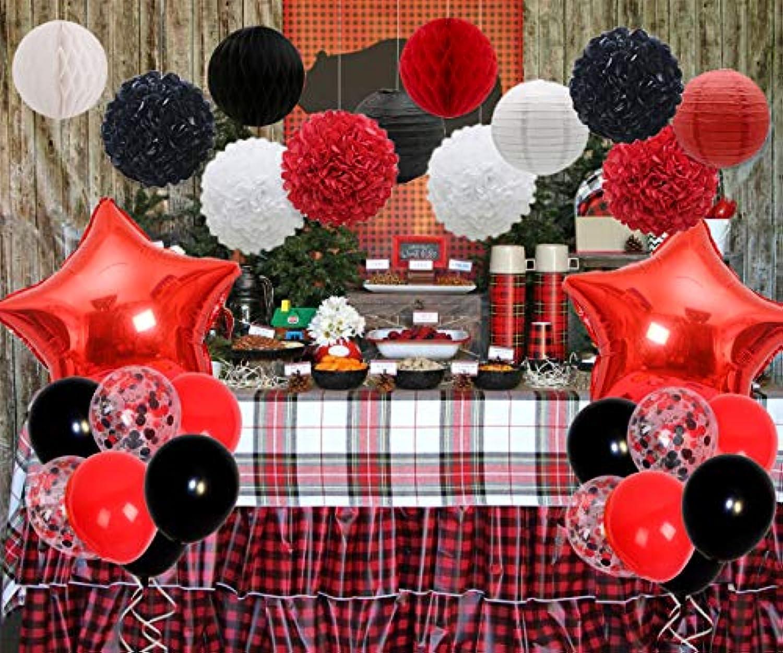 ハッピーバースデー飾り 39個 ブラック ホワイト レッド 誕生日 文化祭 成人式 武館の飾り 木こり 紙提灯 ペーパーフラワー ハニカムボール 紙吹雪入れ