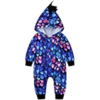 Camidy Infant Baby Toddler Boy Dinosaur Skin Long Sleeve Hooded Romper Jumpsuit Clothes