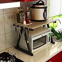 電子レンジラック、シンプルで汎用性の高い二層キッチン金属調味料オーブン炊飯器収納ラック、キッチン、レストラン、ホテルに適して F