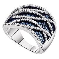 10KTホワイトゴールド女性用ラウンドブルー色付きダイヤモンドストライプカクテルリング1–1/ 4カラット