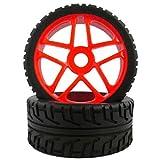 1/8 模型用 タイヤ バギー ラジコン オフロード オンロード 4本セット オレンジ
