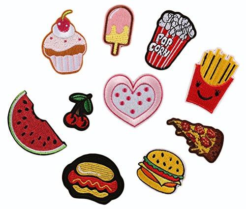 (デイリー スウィート)Daily Sweet バッジ ワッペン 刺繍デコシール お祝い 入園 入学 飾り素材 ポップコーン ピザ ポテトチップ アソート 10枚セット