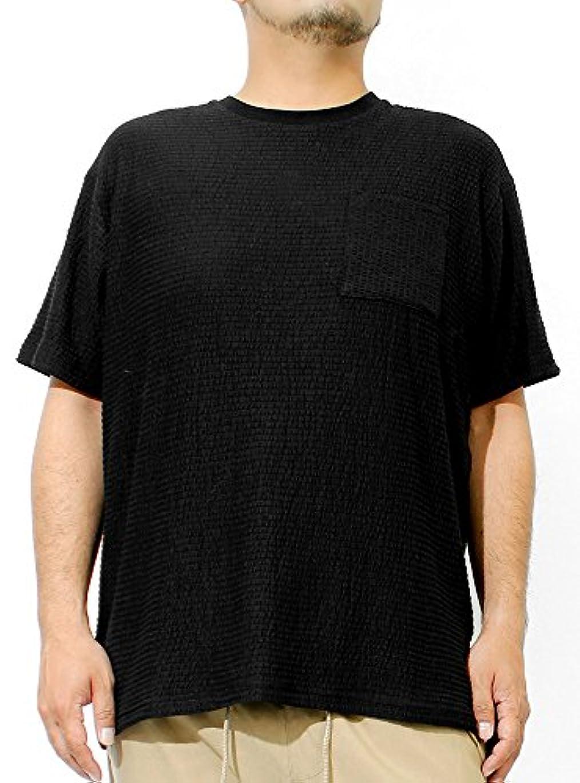 置くためにパック下向き起業家Tシャツ メンズ 大きいサイズ 半袖 ポケット シアサッカー ボーダー 無地 クルーネック カットソー