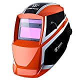 DEKO ブルースパイダー 自動遮光溶接面 自動フィルター ワイドビュータイプ 遮光速度1/25000秒 ソーラー充電式溶接マスク 溶接ヘルメット (オレンジ色)