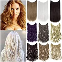 20-22 inches Invisible Wire No Clips in Synthetic Hair Extensions Secret Fish Line Hairpiece [並行輸入品]