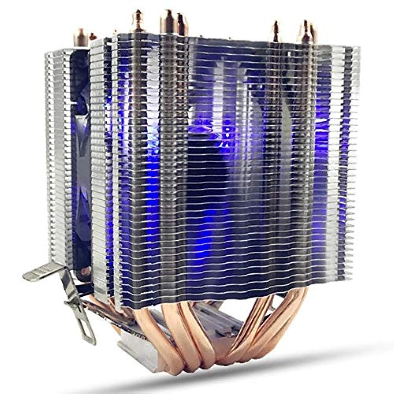 表面ジョージスティーブンソン高尚なPCケースファン インテルLAG 1155 1156 AMDソケットAM3 / AM2とファンクーラーヒートシンク互換冷却6本のヒートパイプブルーLED CPU コンピュータケースファン (Color : Gold, Size : One size)