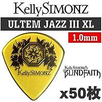 【50枚セット】Kelly SIMONZ(ケリーサイモン) オリジナルピック KSJZ1-100 ウルテム JAZZ III XL 1.0mm Kelly SIMONZ's BLIND FAITH ロゴ