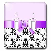 3dRose lsp_110768_2 可愛い紫蝶結び 白と黒のダマスク二重トグルスイッチ