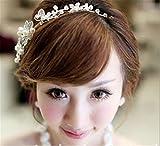 Honel 豪華 ウェディング 花嫁 パール 髪飾り ヘアバンド 披露宴 結婚式 二次会 パーティ アクセサリー