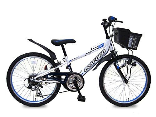 ゴスフォード (GOSFORD) ホワイトブルー 22インチ シマノ6段変速 LEDブロックライト 子供用自転車 キッズサイクル