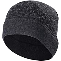 Skull Cap Helmet Liner - Black Winter Thermal Beanie with Ear Covers Fleece Hat for Men & Women