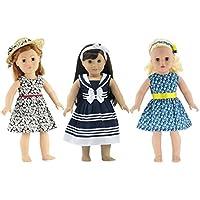 18インチ人形Clothes |値バンドル – セットof 3人形ドレス、IncludingブラックandホワイトFloralドレスwith帽子、ノーティカルドレスwithヘッドバンド、and Floralドレスwith Headband | FitsアメリカンガールDolls