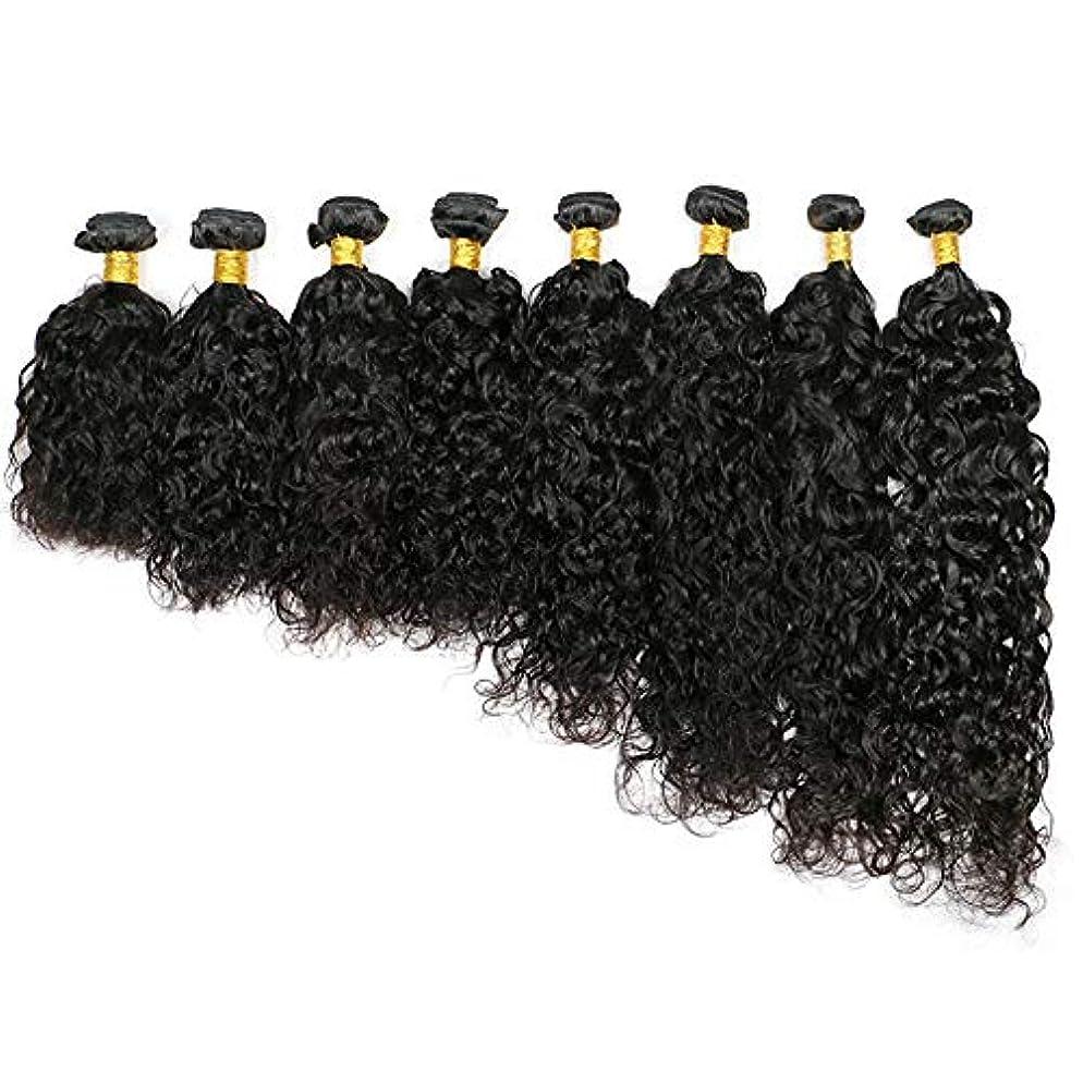 周り湿地水素WASAIO クロージャー本体生物波とブラジルの髪のカーテン人間織り実際のリアルな黒Unbowedは、拡張機能を編みます (色 : 黒, サイズ : 26 inch)