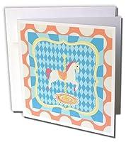 ビバリーターナーカーニバルand Fairデザイン–カルーセル馬、オレンジ、ブルー、イエロー、ダイヤモンドとカーブ–Greeting cards-6グリーティングカード封筒付き(GC _ 202252_ 1)