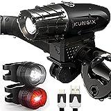 ヘッドライト自転車ライトフロントライト テールライトランプ USB充電式 LED 懐中電灯 強/ 弱/ フラッシュ モード 高輝度 防水 超小型 簡単取り付け Kungix