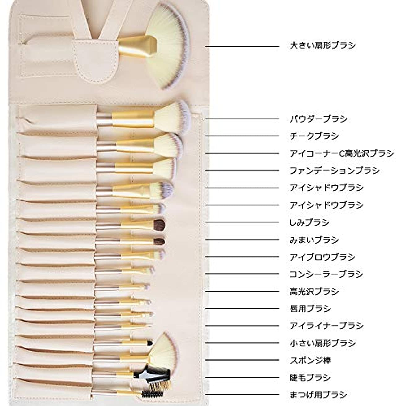 Acavado メイクブラシ 18本セット 人気化粧筆 超柔らかい 高品質PUレザー化粧ポーチ付き メイクデビュー Acavado