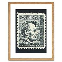 Lincoln Vintage Postage Philately Stamp USA Framed Wall Art Print ビンテージ送料切手アメリカ合衆国壁