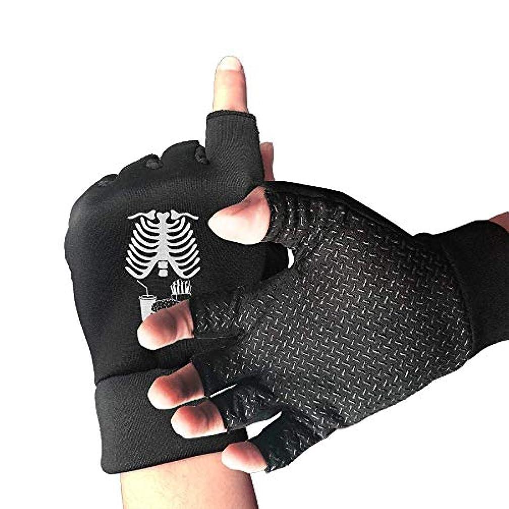 採用する傷つきやすいノイズCycling Gloves Xray Skeleton Junk Food Belly Xray Men's/Women's Mountain Bike Gloves Half Finger Anti-Slip Motorcycle...