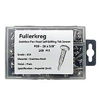 """fullerkreg # 10x 5/ 8""""パンヘッドセルフドリルTekネジ、全ねじ、Phillipsドライブ、ステンレススチール410、明るい仕上げ、self-drilling、数量100個"""