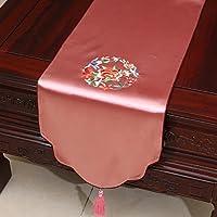 テーブルランナー 中国式レトロテーブルランナー刺繍花ダイニングテーブル/茶テーブル (色 : Peach, サイズ さいず : 33*300cm)