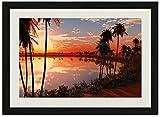 パームス湖サンセット 風景の写真木製黒額縁アートポスター(35cmx50cm)