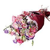 """翌日配達お花屋さん フレッシュな""""トルコキキョウ""""。カラーはホワイトベースが綺麗なピンクとブルーの愛されトルコキキョウ花束やさしい花束(トルコキキョウ花束) 誕生日・記念日・お祝い・結婚祝い・お見舞い・歓送迎会・結婚祝いお礼の花の配"""