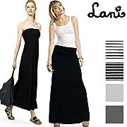 【Lani】 アメリカLAで生まれたファッションブランド。 ラニが提案する商品は、一目で高級と分かるものより、どこか大人の余裕が垣間見えるデザインが多く、大人の女性が本当に求めるものを追求している。 人気モデルの梨花さんが愛用した事で日本でも注目を浴びている。  【商品説明】 シンプルなマキシスカートは、ベアトップ風のワンピースとしても着用可能の2wayデザイン。 伸縮性のあるウエスト部分は折り返して丈の調節ができて安心。一枚は持っておきたい優秀アイテム! タイトなウエスト周りのシルエットが、と...