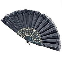 レース手持ち扇子 、絹 シルク ハンドヘルドレトロ扇子母の日 プレゼント 暑さ 対策 (I)