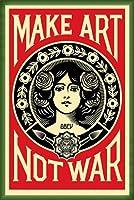ポスター オベイ Male Art Not War/Shepard Fairey 手書きサイン入り 額装品 ウッドベーシックフレーム(グリーン)