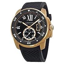 カルティエCalibre de Cartier Diver自動ブラックダイヤルゴムメンズ時計w7100052
