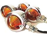 タビヲ(TABIWO) 汎用 ブレット ウインカー バイク 4個 セット メッキ アンバー オレンジ レンズ