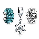 [ブリング・ジュエリー] Bling Jewelry スターリングシルバー 925 スワロスキークリスタル CZ 雪の結晶 ブルー 水色 クリスマス ヨーロピアン スタイル チャーム 3つ セット[インポート]