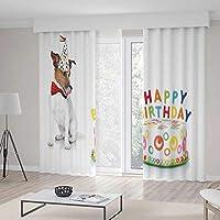 YOLIYANA ドアカーテン 子供の誕生日のデコレーション リビングルームのプレゼントに イメージのチョコレートケーキ 猫 パーティーに 103W X 96L Inches Z09_B_1_Blackout Curtains_021822