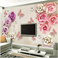 Xbwy 3D壁紙レトロヨーロッパ風ジュエリーフラワーバタフライ壁画リビングルームテレビウェディングハウスロマンチック-250X175Cm