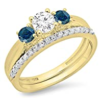 1.00カラット(CTW14Kゴールドラウンドカットブルー&ホワイトダイヤモンドブライダル3ストーン婚約指輪セット1CT