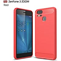 Asus ZenFone Zoom S ZE553KL / Zenfone 3 Zoom ZE553KL ケース MaxKu ソフト 軽量 落下防止ソフトめっきTPUケース 高品質シリコンケース 衝撃吸収カバー (レッド)