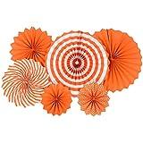 【TKY】 ペーパーファン ペーパーデコレーション 扇子 飾り付け パーティー バースデー 誕生日 オレンジ