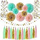 Hangnuo 誕生日 飾り付け HAPPY BIRTHDAY デコレーションセット ペーパーフラワー ガーランド ホームパーティー パーティ バースデー 部屋 飾り 子供 (ダイナソーセット)