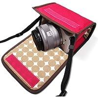 カメラケース ミラーレス キヤノンEOS M100 /EOS M10ケース(ピンク・ベージュドット)-カラビナ付 -suono(スオーノ)ハンドメイド