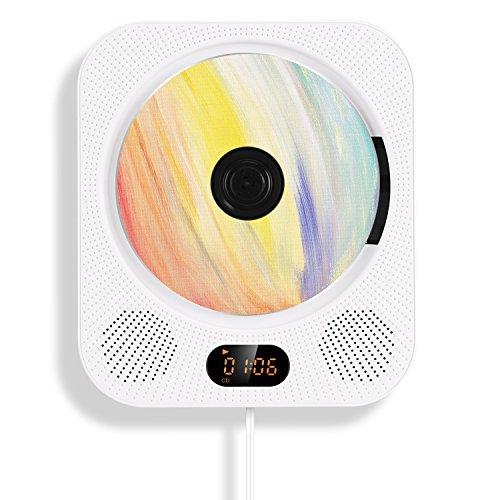 AGPTEK 【第10代】 CDプレーヤー 壁掛け式 スピーカー CD/Bluetooth/FM/USB/TF/Audioモード リモコン付き お洒落 ホワイト