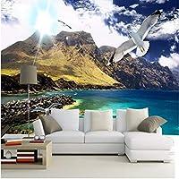 Wuyyii 壁紙大カスタム壁画青空白い雲雪山風景鳩壁画テレビの背景壁壁紙-280X200Cm