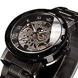時計、機械式時計 メンズウォッチクラシックスタイルのメカニカルウォッチスケルトンステンレススチールタイムレスデザインメカニカルスチームパンク (ブラック)